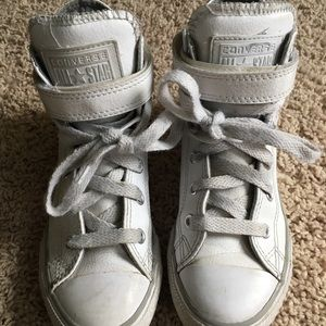 Kids Converse White Leather Strap High Tops Sz 1